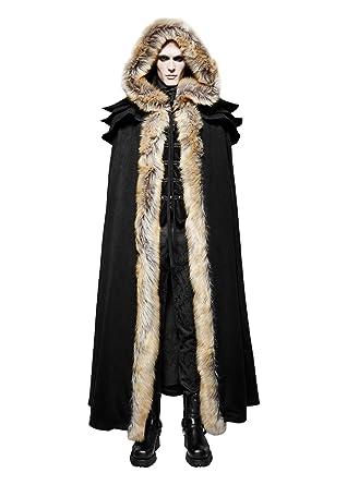 Punk Rave Mens Gothic Medieval Faux Fur Trimmed Cape Full Length Hooded Cloak Coat
