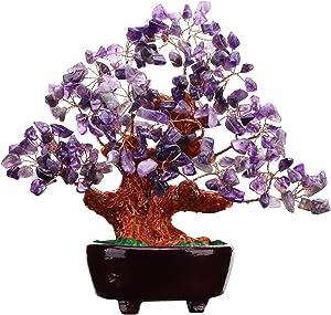 VOVOV 7 Inch Purple Crystal Money Tree Feng Shui Natural Amethyst Quartz Gem Stone Money Tree