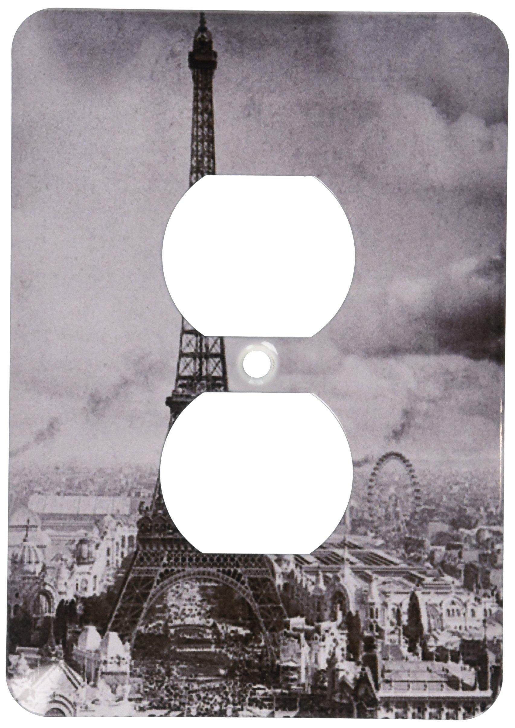 3dRose LLC lsp_6793_6 Eiffel Tower Paris France 1889 Black and White, 2 Plug Outlet Cover