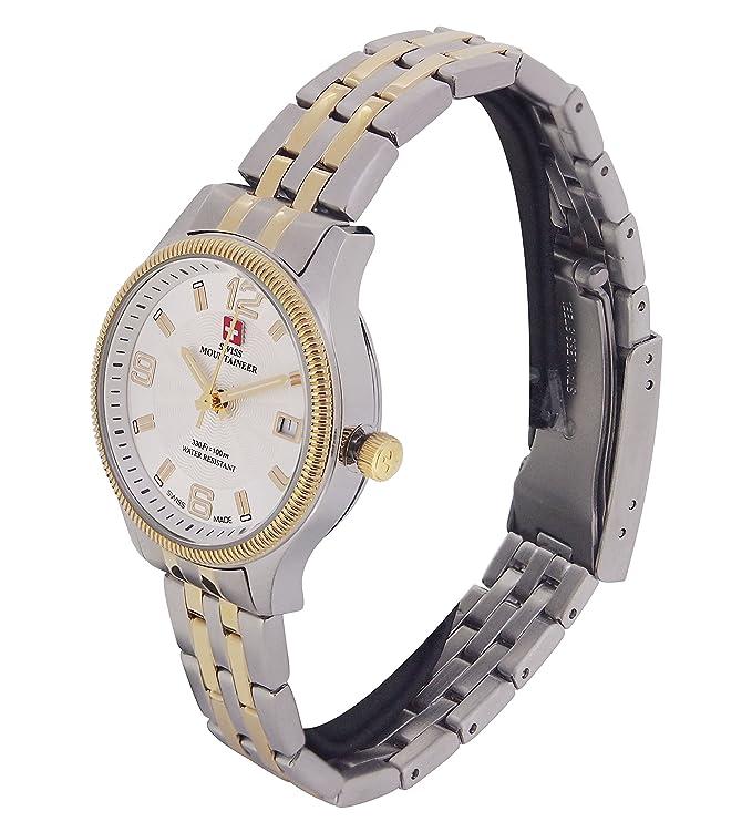 Amazon.com: Swiss Mountaineer Ladies Swiss Watch Two Tone Stainless Steel Bracelet Gold Tone Bezel Date Reloj SML8006: Swiss Mountaineer: Watches