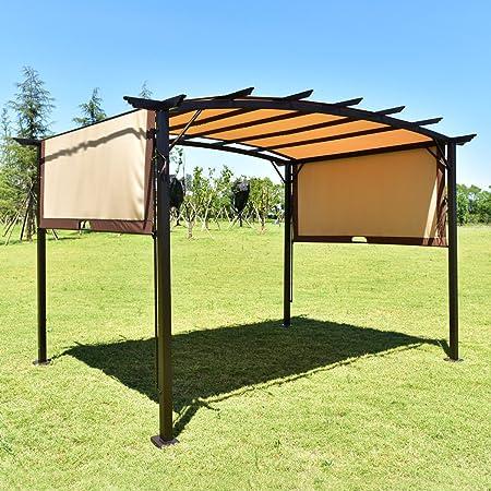 Arama-ix Toldo de uva – Cenador Pérgola Kit Muebles refugio estructura metálica y toldo cubierta 12 x 9: Amazon.es: Jardín