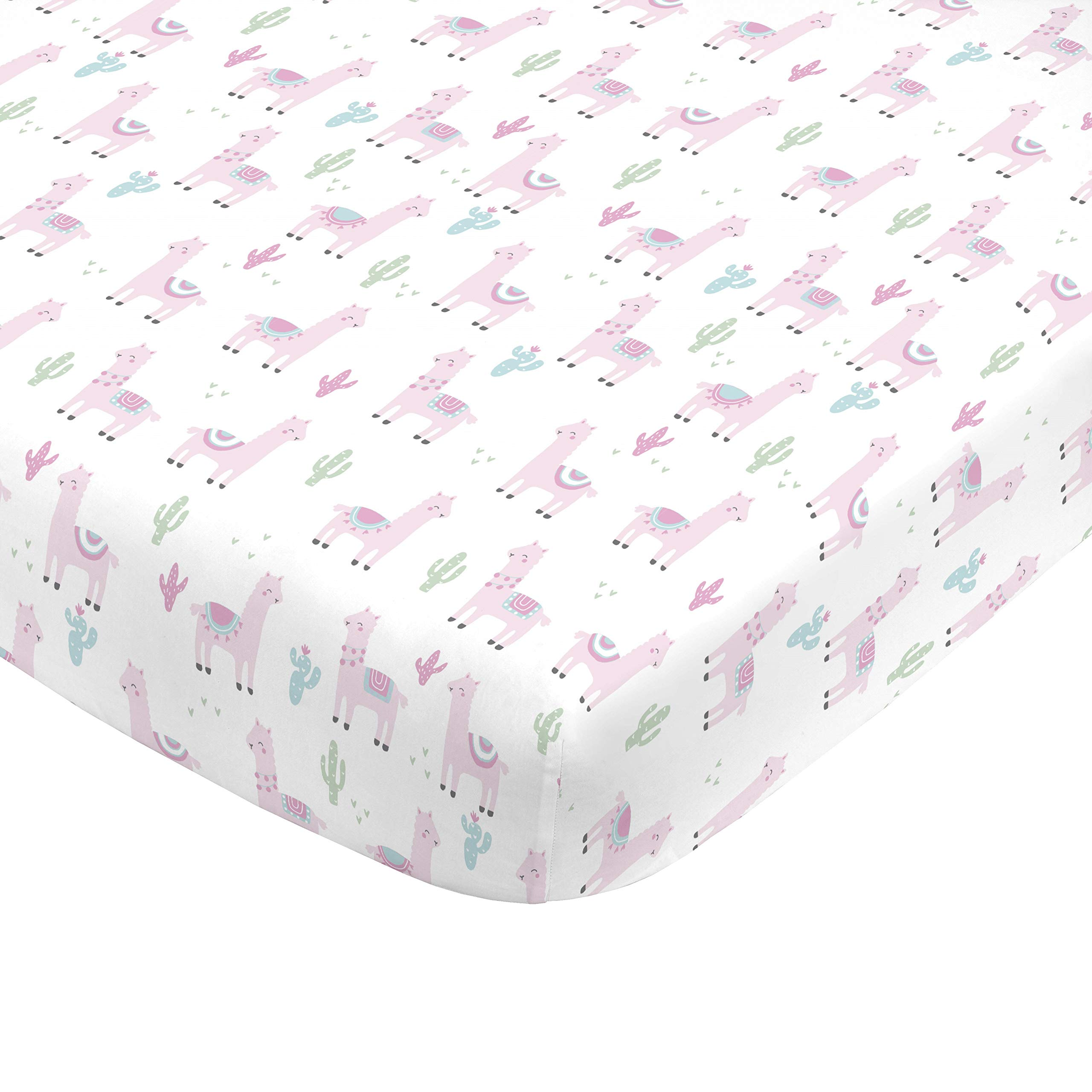 NoJo Super Soft Pink Llama Nursery Crib Fitted Sheet, Pink, White, Green by NoJo
