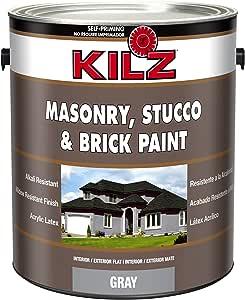 KILZ Interior/Exterior Self-Priming Masonry, Stucco and Brick Flat Paint, 1 gallon, Gray