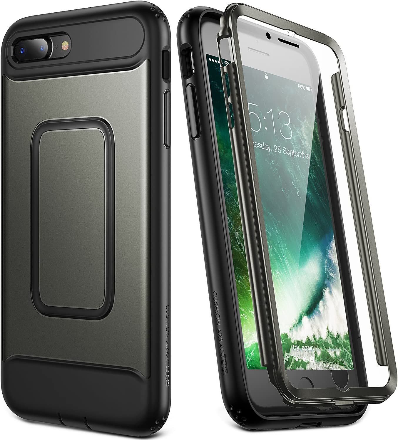YOUMAKER Case for iPhone 8 Plus & iPhone 7 Plus, Full Body with Built-in Screen Protector Heavy Duty Protection Shockproof Slim Fit Cover for Apple iPhone 8 Plus (2017) 5.5 Inch - Gunmetal