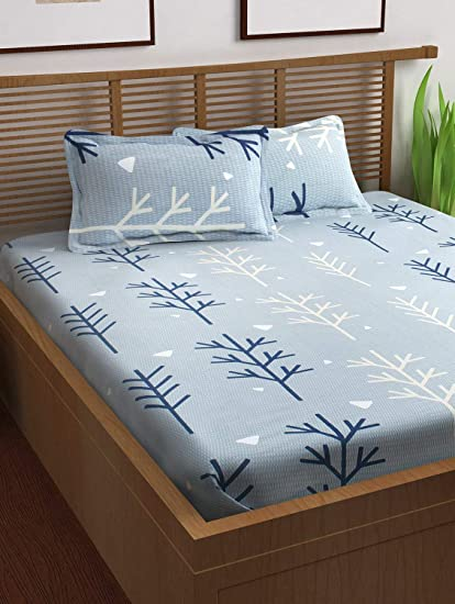 Story@Home Prism 120 TC Cotton Double Bedsheet with 2 Pillow Covers - Floral, Queen Size, Grey