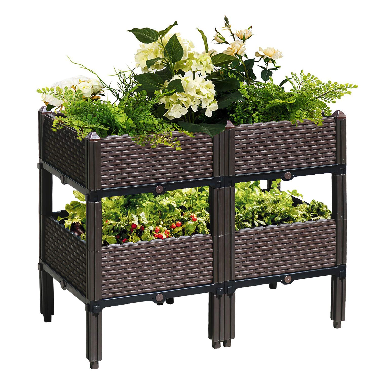 Reliancer Set of 4 Raised Garden Beds w/Brackets Elevated Garden Bed Kit Patio Flower Plant Planter Box Vegetables Planting Container Fence Indoor Outdoor for Porches Decks Balconies Yard Gardening by Reliancer-US