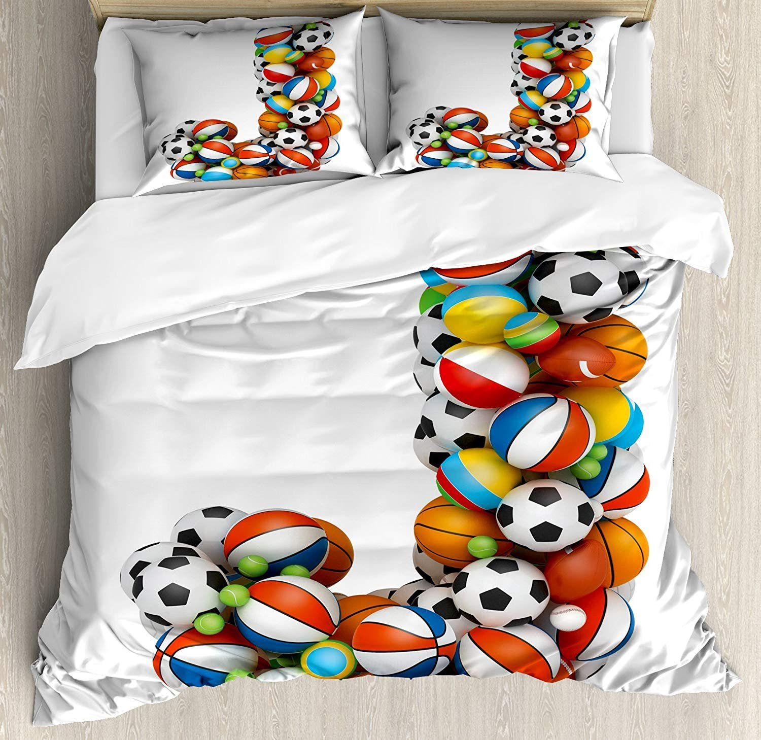 Duvet Cover Set Letter J Letter J Capitalized Sporting Goods Basketball Football Pigskin Fun Games Design Ultra Soft Durable Twill Plush 4 Pcs Bedding Sets for Childrens/Kids/Teens/Adults Twin Size
