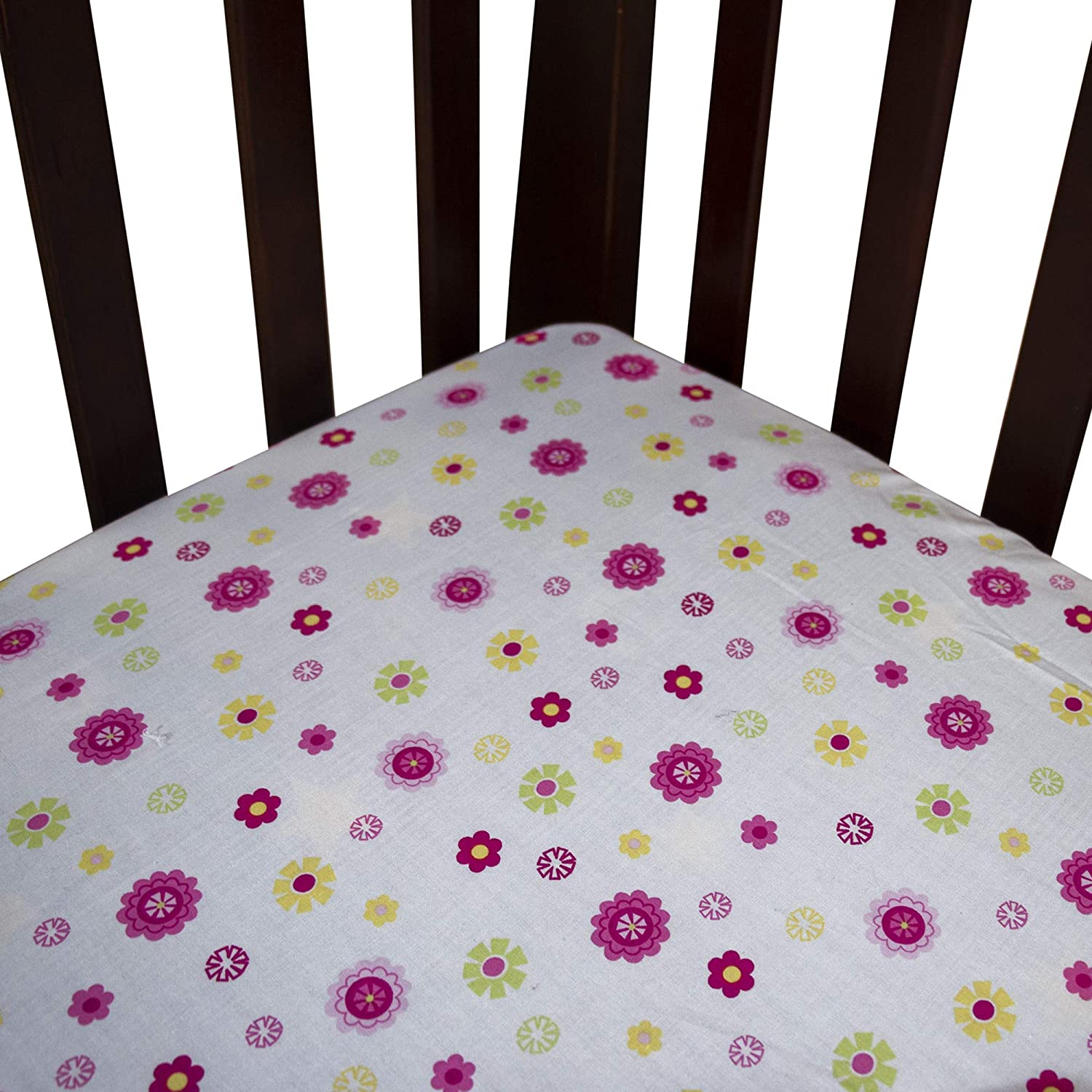Pink Cute Animals 5 Piece Nursery Crib Bedding Set for Girls Diaper Stacker and Pillow Case Crib Bedding Set of Fitted Crib Sheet Dust Ruffle for Standard Size Crib Quilt