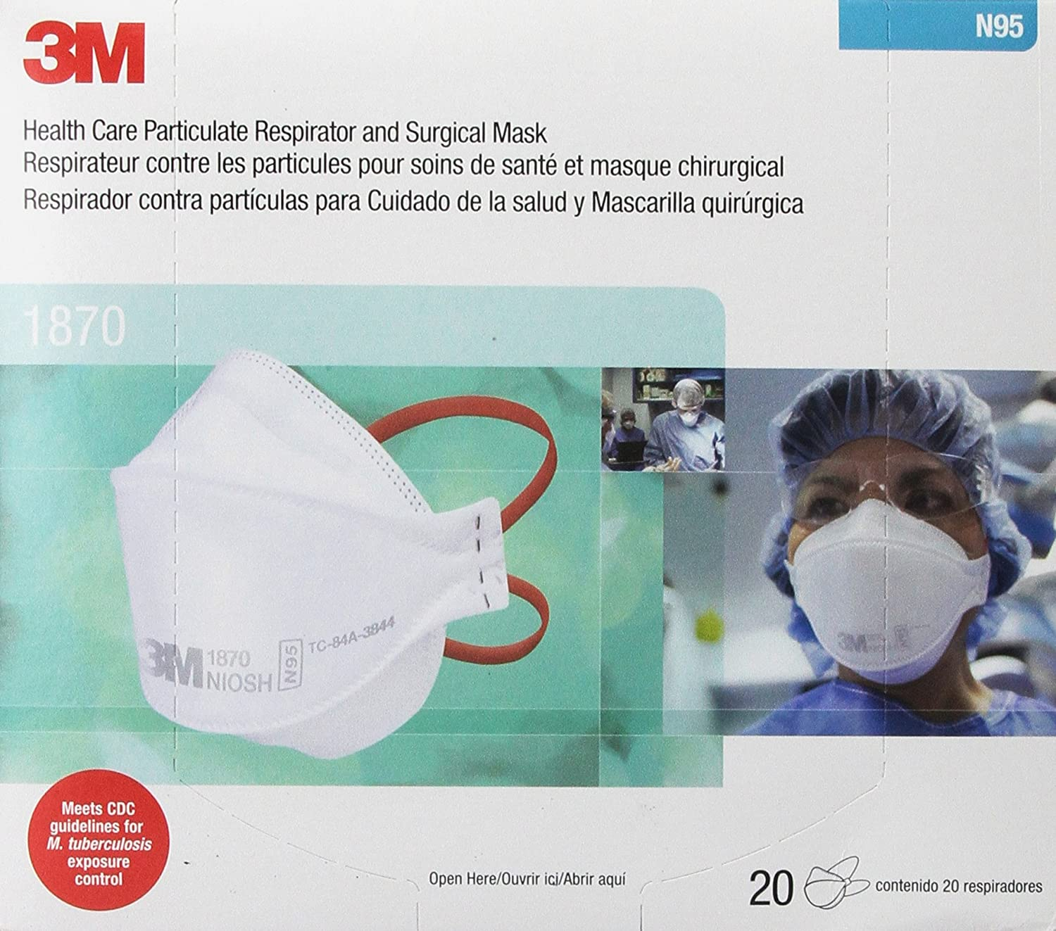 1870 3m Surgical 20 Of Mask Box N95