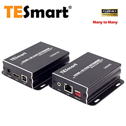d603c4ad6d5 Amazon.com: TESmart 400 ft HDMI KVM Extender Over TCP/IP Ethernet/Over  Single Cat5e/cat6 Cable 1080P with IR Remote - Up to 400 ft (One Sender +  One ...