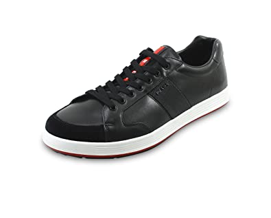 Prada Men's Leather With Nylon Web Detail Lace-up Sneakers,  Black/Anthracite 4E3113