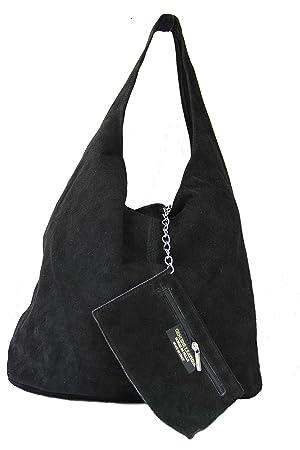 b42b2aba99acd Schultertasche Henkeltasche Handtasche Damentasche Beuteltasche schwarz  Wildleder