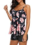 American Trends Tankini Swimsuits for Women Two Piece Bathing Suits Tankini Top with Boyshorts Swimwear for Women