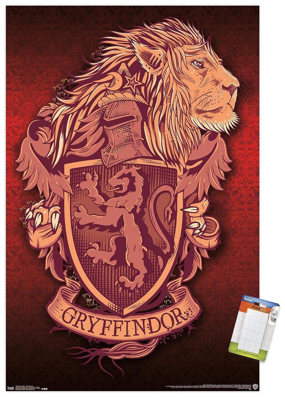 "Trends International Harry Potter-Gryffindor Lion Crest Premium Mount Bundle Wall Poster, 14.725"" x 22.375"", Multi"