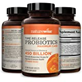 NatureWise Max Probiotics for Men & Women | Time-Release Caplets Comparable to 450 Billion CFU with 30 Strains…