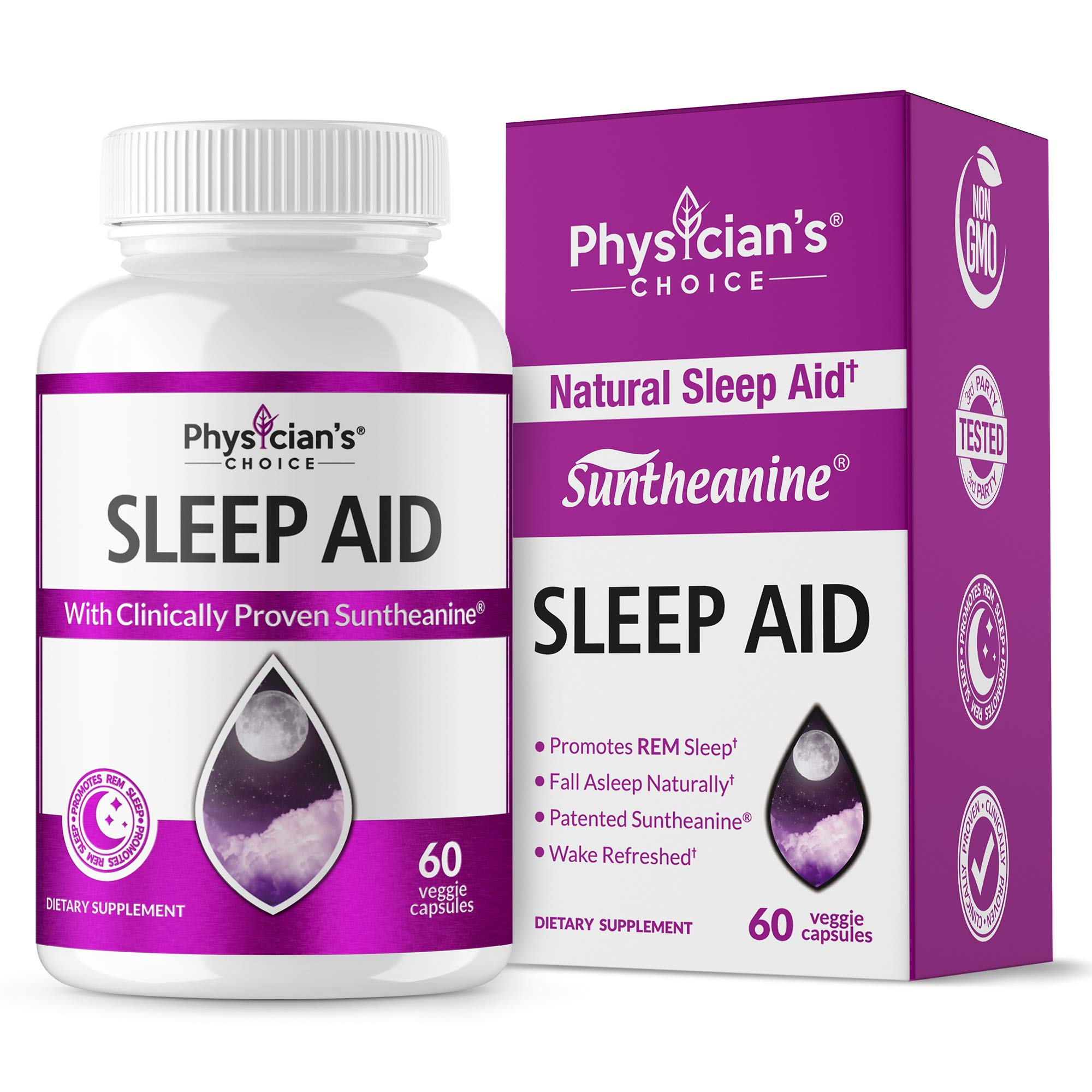 Sleep Aid with Valerian Root, Patented & Clinically Proven Suntheanine, 100% Natural, Insomnia Relief, Chamomile, Suntheanine & P5P Wake Up Feeling Rested, Sleeping Pills for Adults Extra Strength by Physician's CHOICE