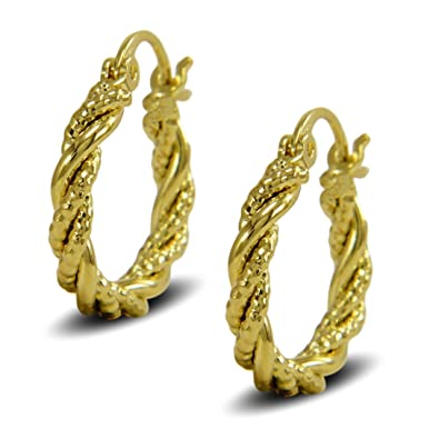 Blue Diamond Club - 9ct Gold Filled Womens Creole Hoop Earrings Twisted Spiral Pattern 20mm dkkg1ZY