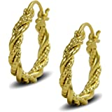Blue Diamond Club - Gold Twisted Rope Hoop Earrings 9ct Gold Filled Creole Womens or Girls