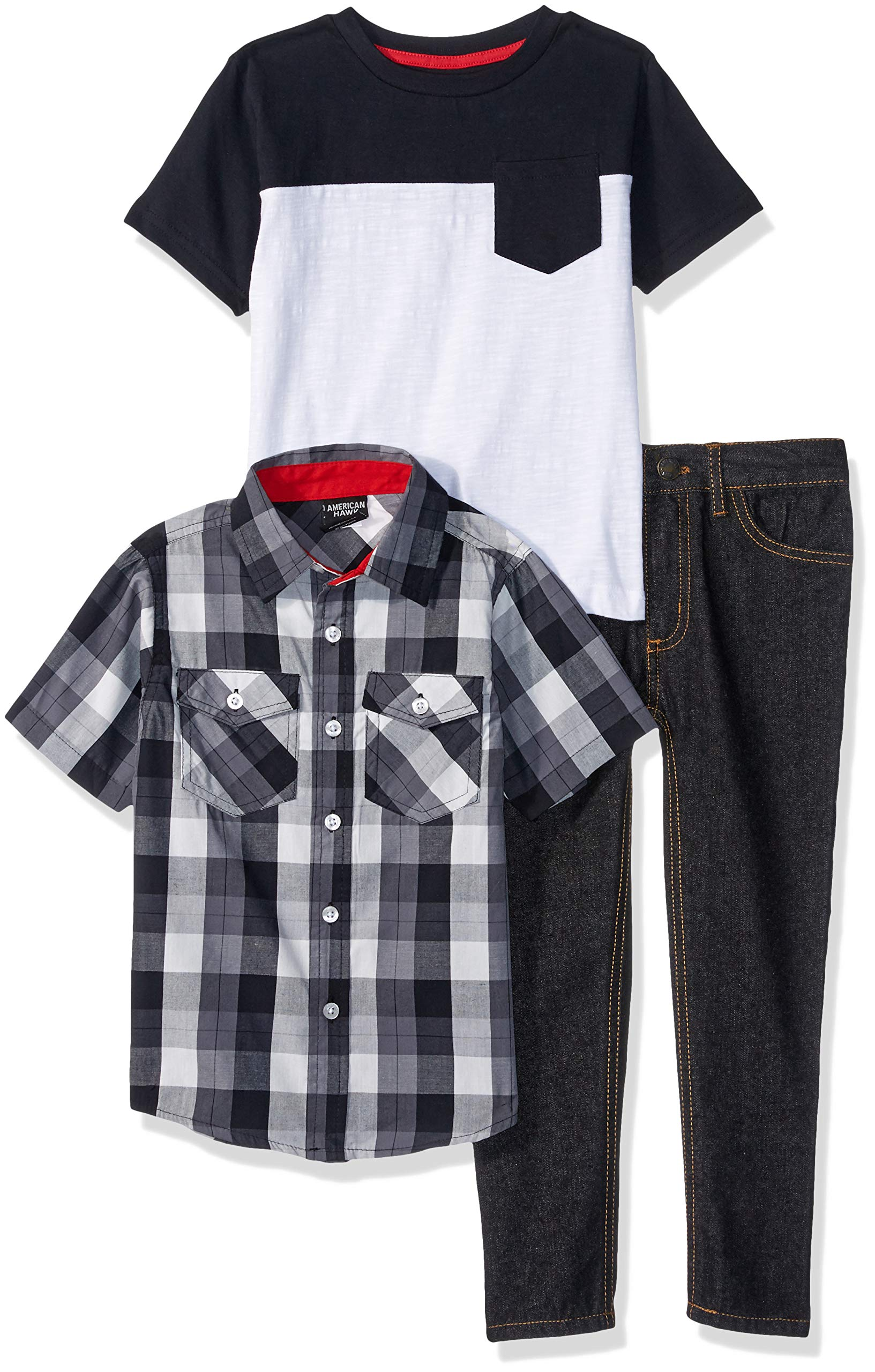 American Hawk Boys' Big Short Sleeve Plaid, T-Shirt, and Jean Set, Color Block Black, 12 by American Hawk (Image #1)