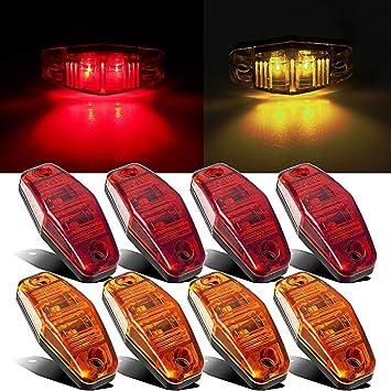 LED Light 2 Diodes Amber Surface Mount Clearance Side//Fender Marker Trailer 8