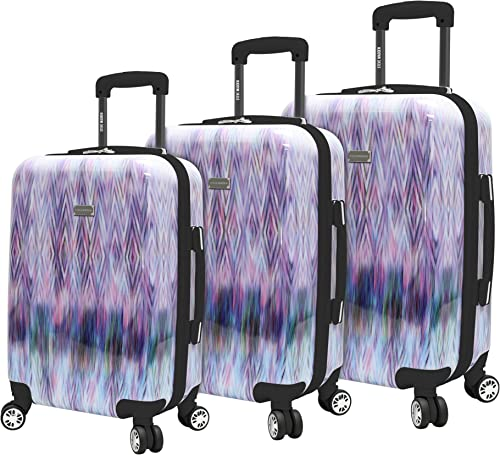 Steve Madden Luggage Collection – 3 Piece Hardside Lightweight Spinner Suitcase Set – Travel Set includes 20 Inch Carry On, 24 inch and 28 Inch Checked Suitcases Diamond