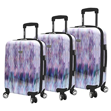 55c598e885f Steve Madden Luggage 3 Piece Suitcase Set With Spinner Wheels (Diamond)