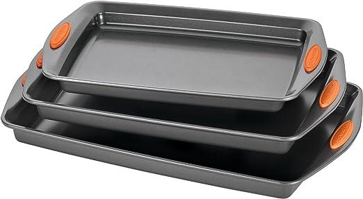 Quality Set of 3 Non Stick Baking Trays Tin Dish