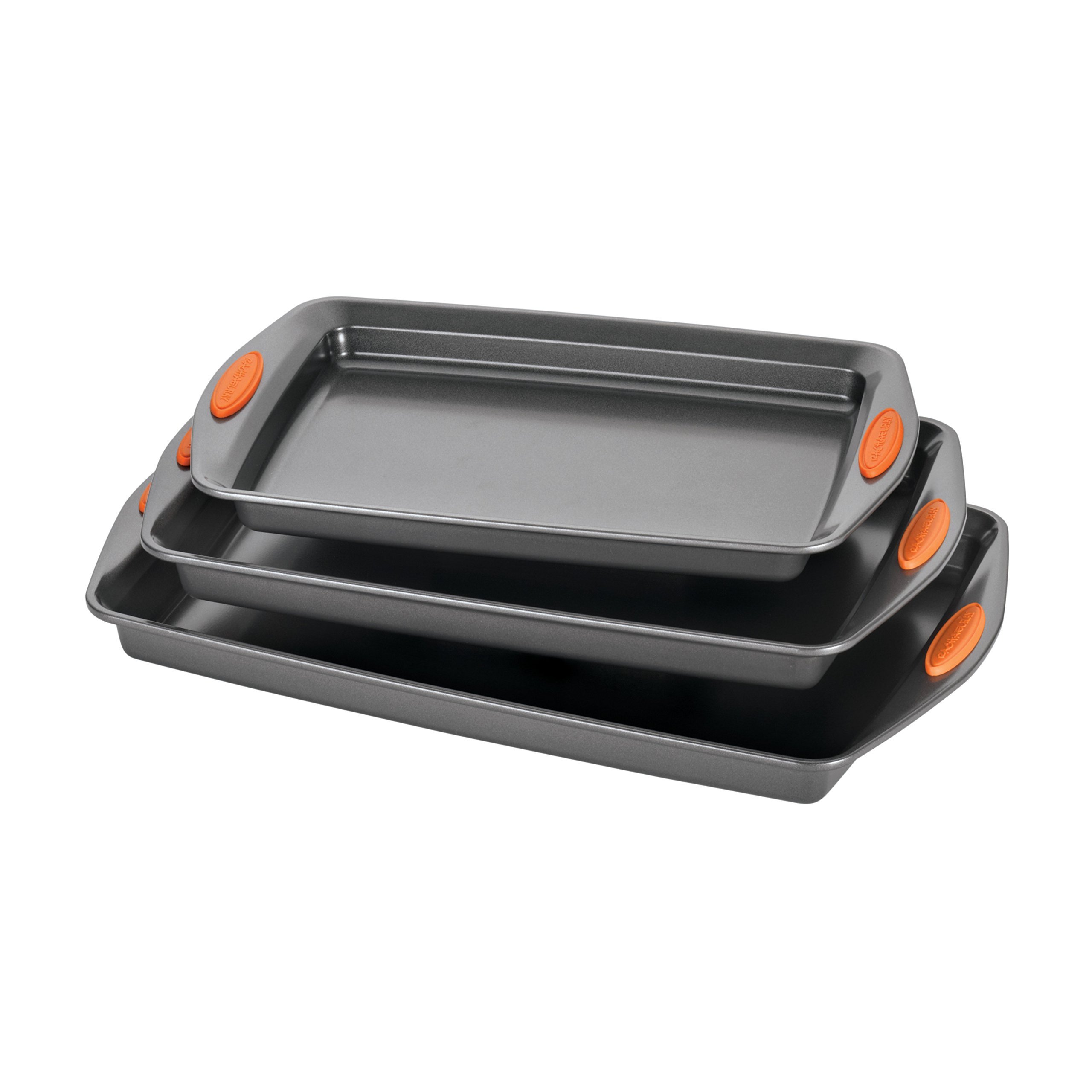 Rachael Ray Yum-o! Nonstick Bakeware 3-Piece Oven Lovin' Cookie Pan Set, Gray with Orange Silicone Grips by Rachael Ray (Image #1)