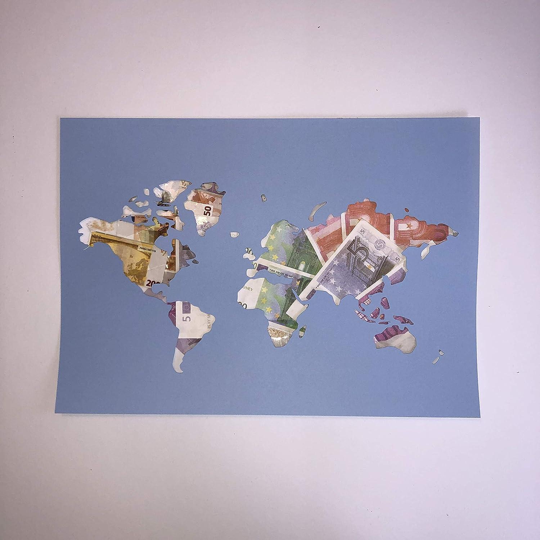 *Weltkarte* Geldgeschenk f/ür jeden Anlass *DIY*