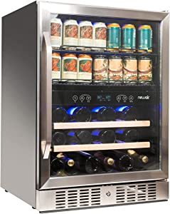 NewAir Beverage Cooler 22 Bottle and 70 Can Capacity Dual Zone Built in Refrigerator for Soda Beer or Wine, AWB-400DB Stainless Steel