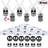 Gaming Party Supplies Favors 30 Pcs Marshmellow Birthday Gamer Set - 6 Necklaces, 12 Glow in The dark Bracelets, 12 Pin Badges