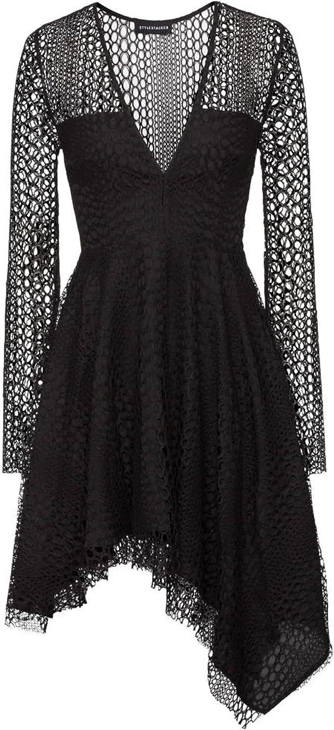 Stylestalker Damen kurzes Kleid mit Loch-Spitze Langarm: Amazon.de