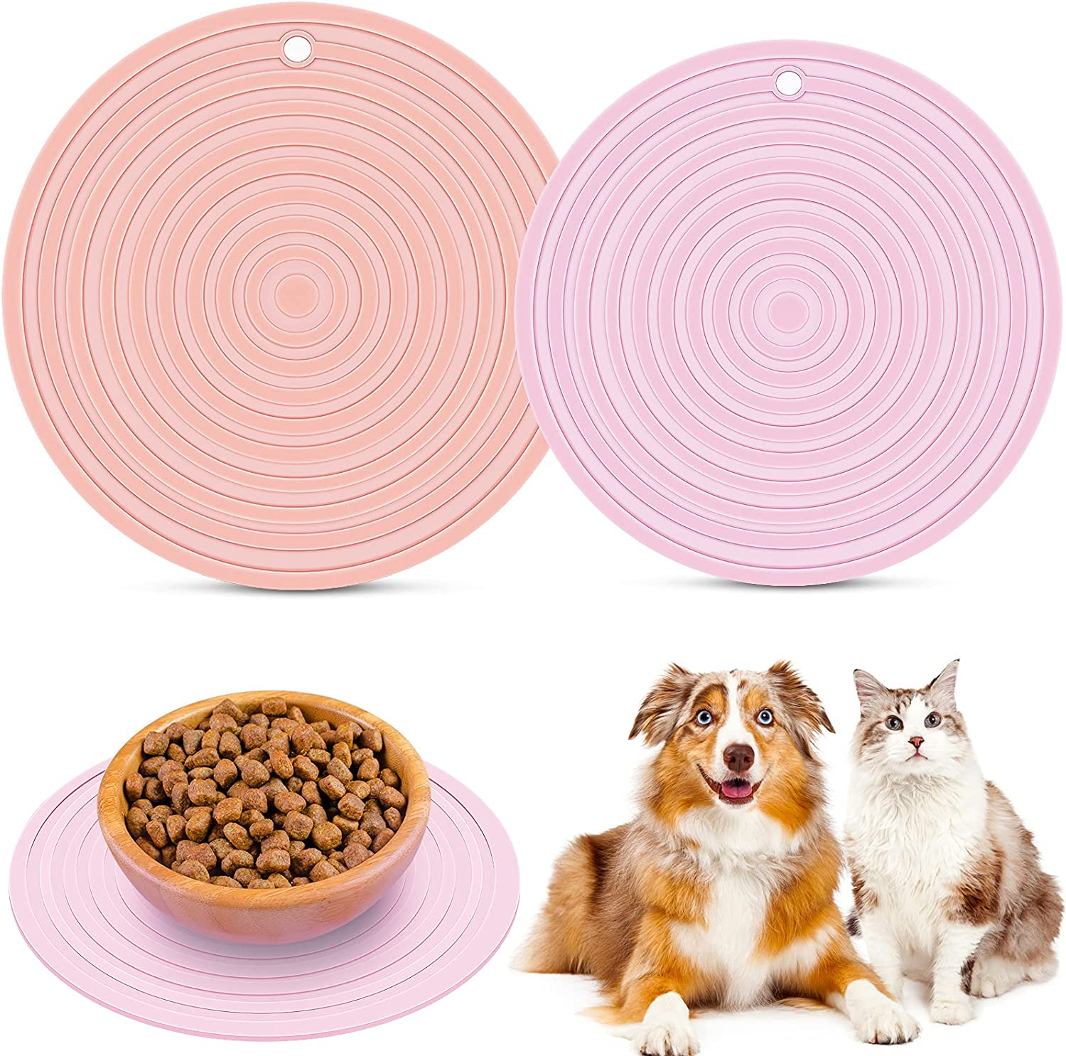 2 Pieces Silicone Pet Food Mat Pet Feeding Mat for Dog and Cat Food Bowl Place-mat Preventing Food and Water Overflow Suitable for Medium and Small Pet, Pink, 9.5 x 9.5 Inches and 7.1 x 7.1 Inches