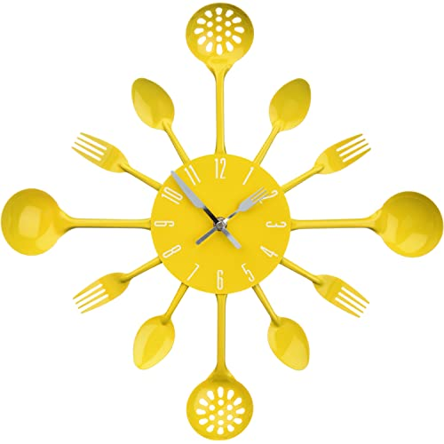 Premier Housewares Yellow Cutlery Wall Clock