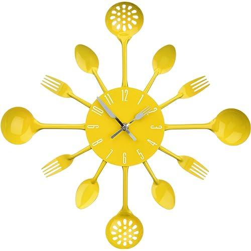 Premier Housewares Yellow Cutlery Wall Clock