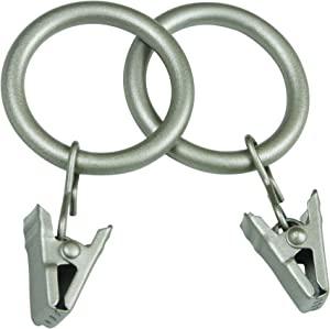 Kenney Real Home Window Curtain Clip Rings, Set of 14, Pewter