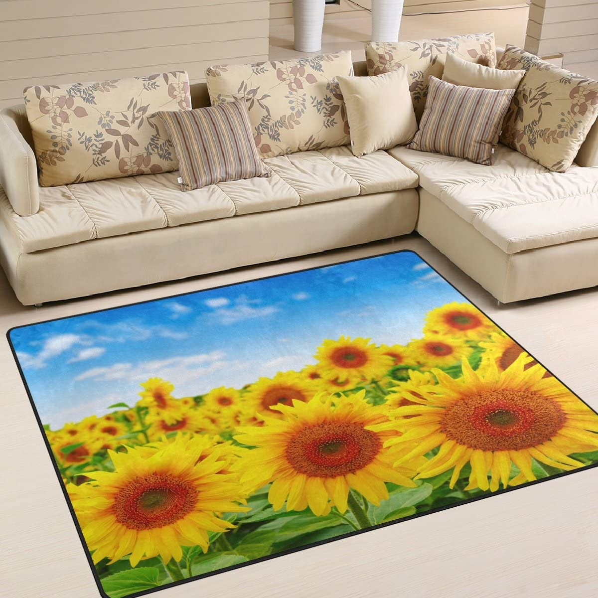 ALAZA Sunflowers Field on Blue Sky Area Rug Rugs Mat for Living Room Bedroom 7 x5