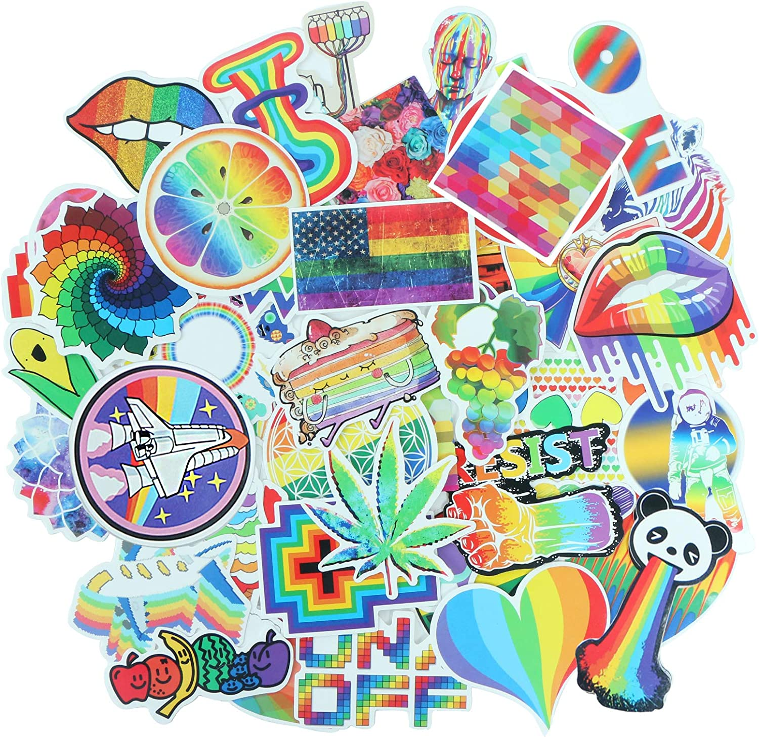 YAMIOW Waterproof Vinyl Stickers for Bike Notebook Suitcase Helmet Car Decorations Graffiti Stickers (60 pcs for Rainbow Style)