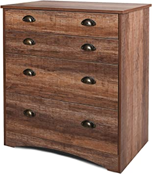 WLIVE Vintage 4 Drawer Dresser, Chest of Drawers, Wide Storage Cabinet with  Stable Wood Frame, Plenty of Storage for Home/Office, Cinnamon