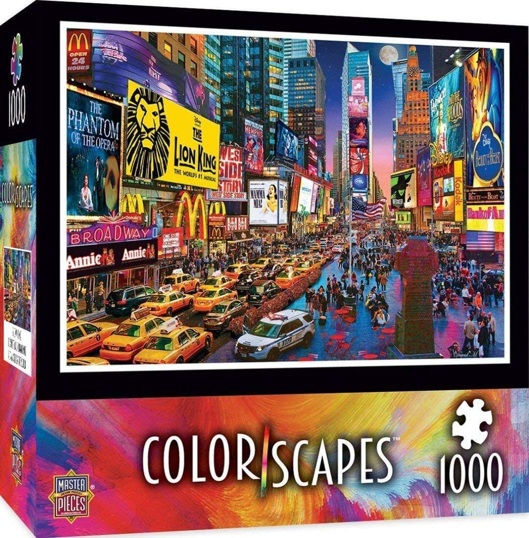 Large Puzzle Educational Toys Relaxing Fun Game for Kids Adults Times Square POWXS 1000 Pieces Jigsaw Puzzles