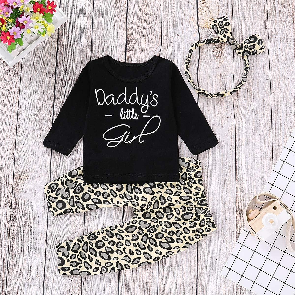 3er Set Neugeborene Baby M/ädchen Outfits Daddys Litter Girl Print Langarm Leopard T-Shirts Tops Leggings Baby Kleidung Sets