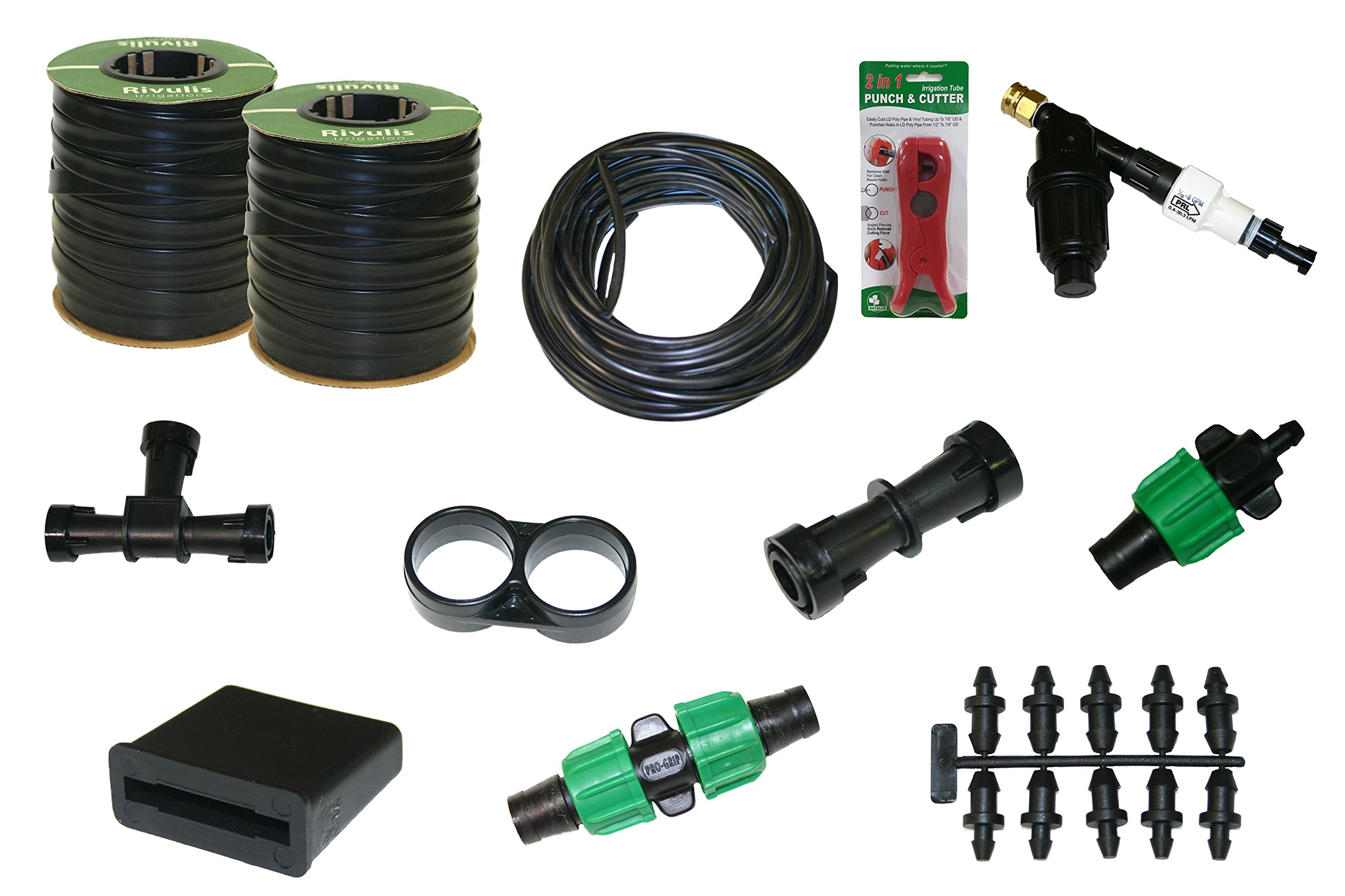 Drip Tape (15 mil) Irrigation Kit for Vegetable Gardens | Two 750 ft. Rolls | Fittings for 20 Rows