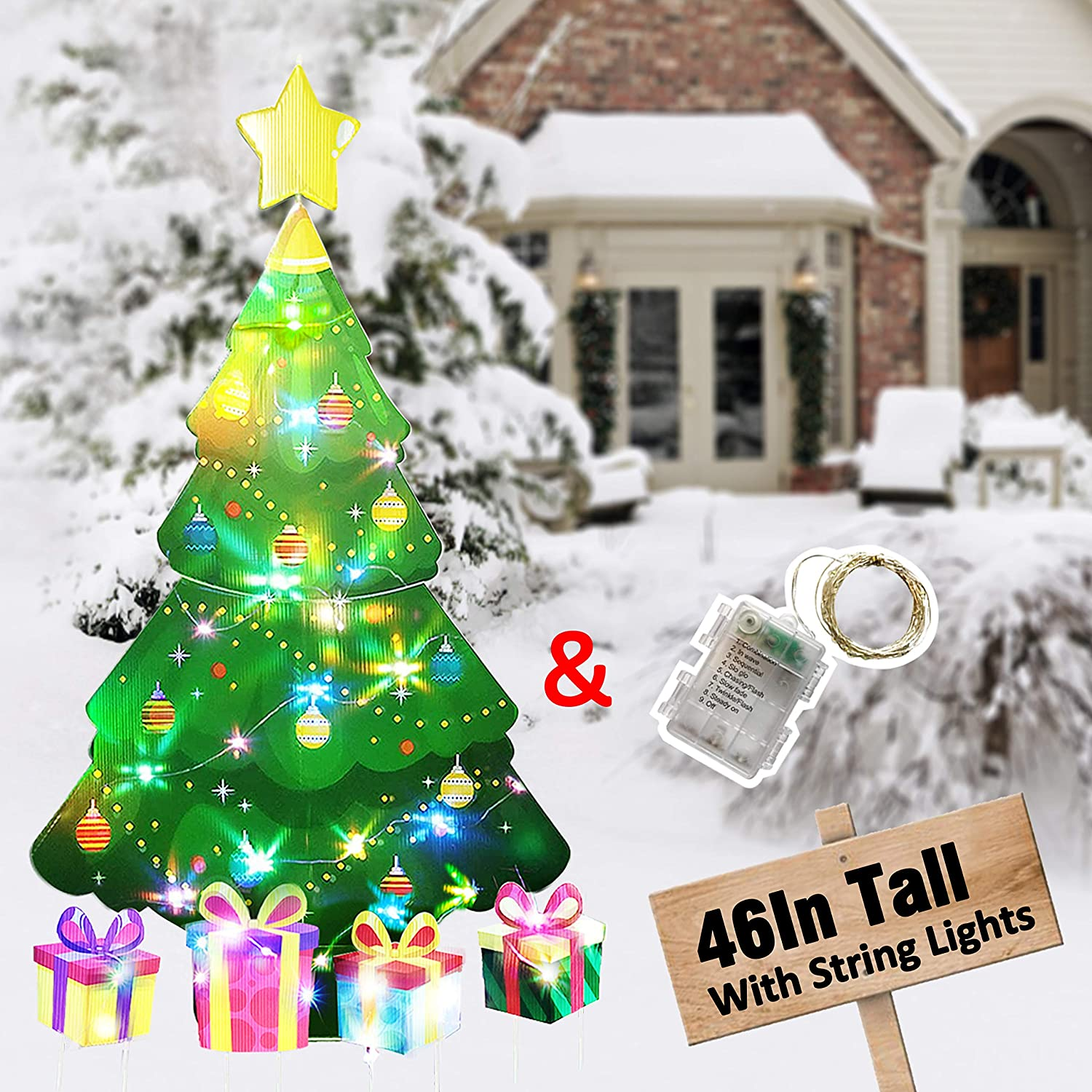 HOSKO Christmas Tree Decor, 46inch Xmas Yard Signs Stakes with String Lights, Xmas Decorations for Outside Outdoor Giant Holiday Candyland Themed Party Walkway Pathway Lawn Garden