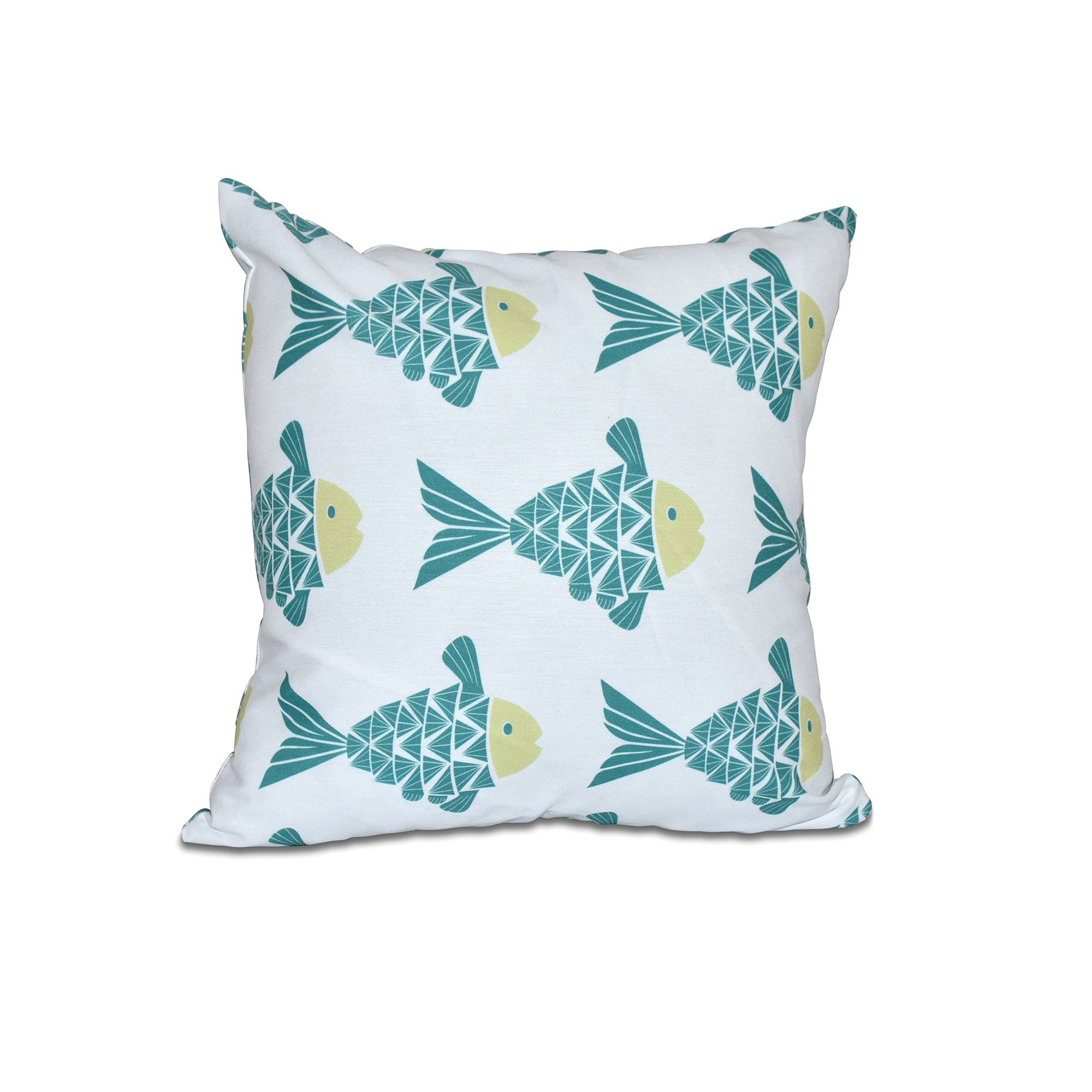 E by design 16 x 16 Fish Tales Animal Print Teal Pillow