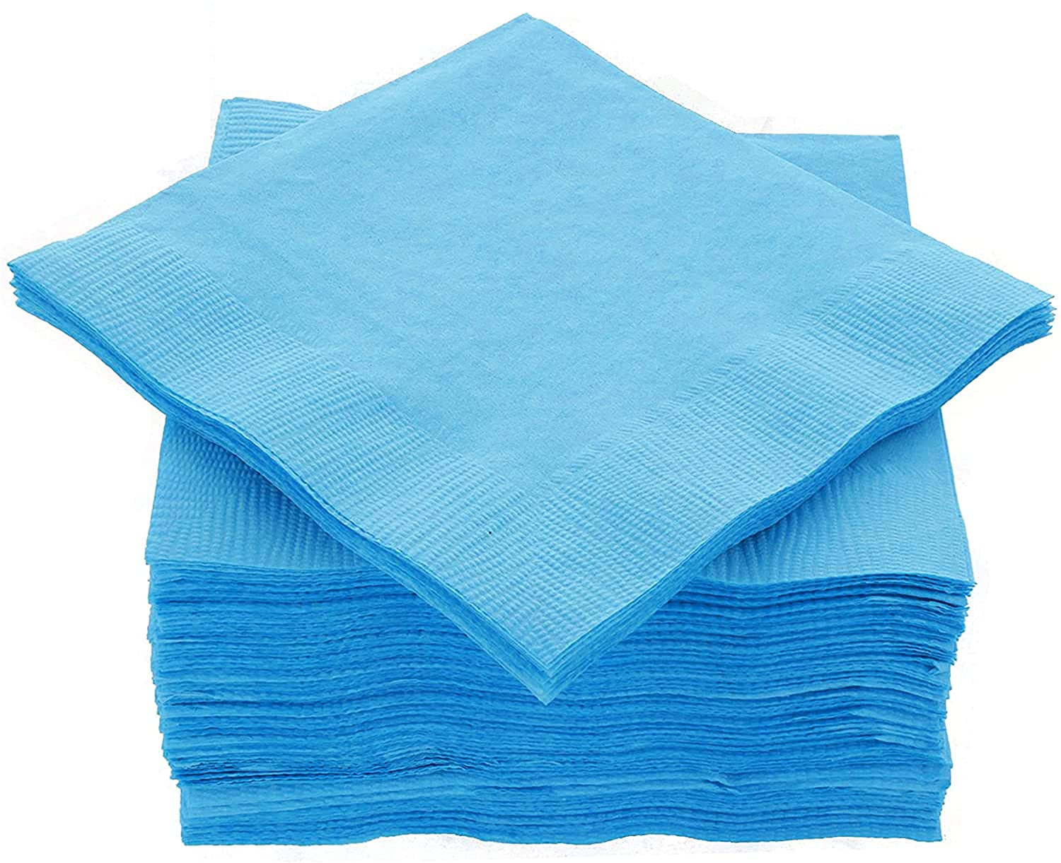 "Amcrate Big Party Pack 125 Count Caribbean Blue Beverage Napkins - Ideal for Wedding, Party, Birthday, Dinner, Lunch, Cocktails. (5"" x 5"")"