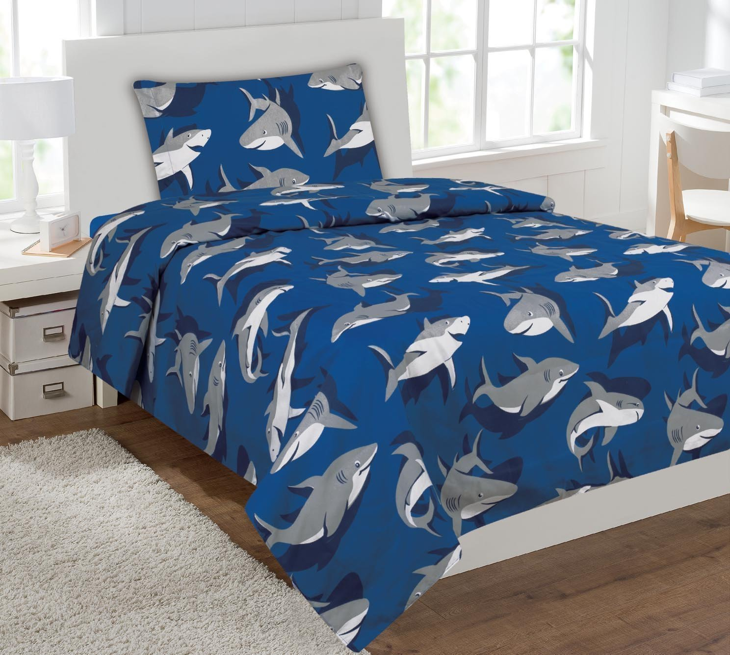 Twin Size 3pc Sheet Set for Boys Shark Light Blue Grey New