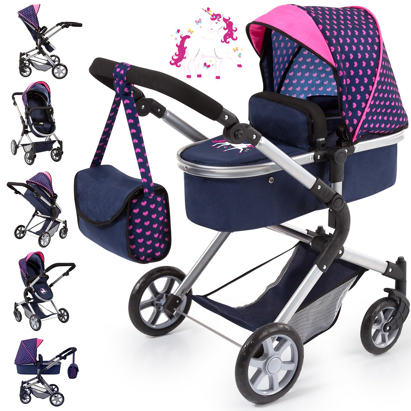 Bayer Design 18154AA City Neo Dolls Pram with Changing Bag, Blue/Pink by Bayer (Image #6)