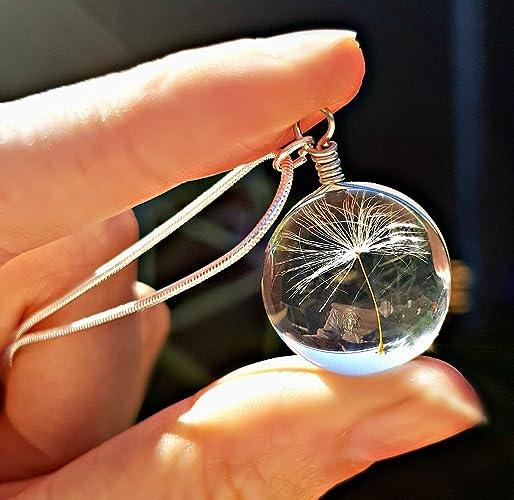 9b22eb70f9 Cadeau fête des mères Chaîne en argent sterling collar de Pissenlit ...