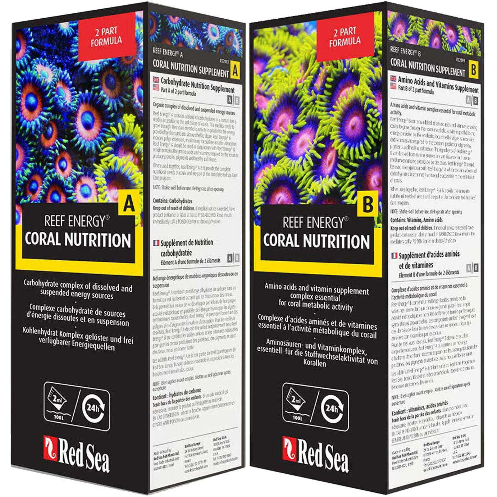 RedSeaReef Energy A&B Supplements Coral Nutrition, Combo Pack 1L Each