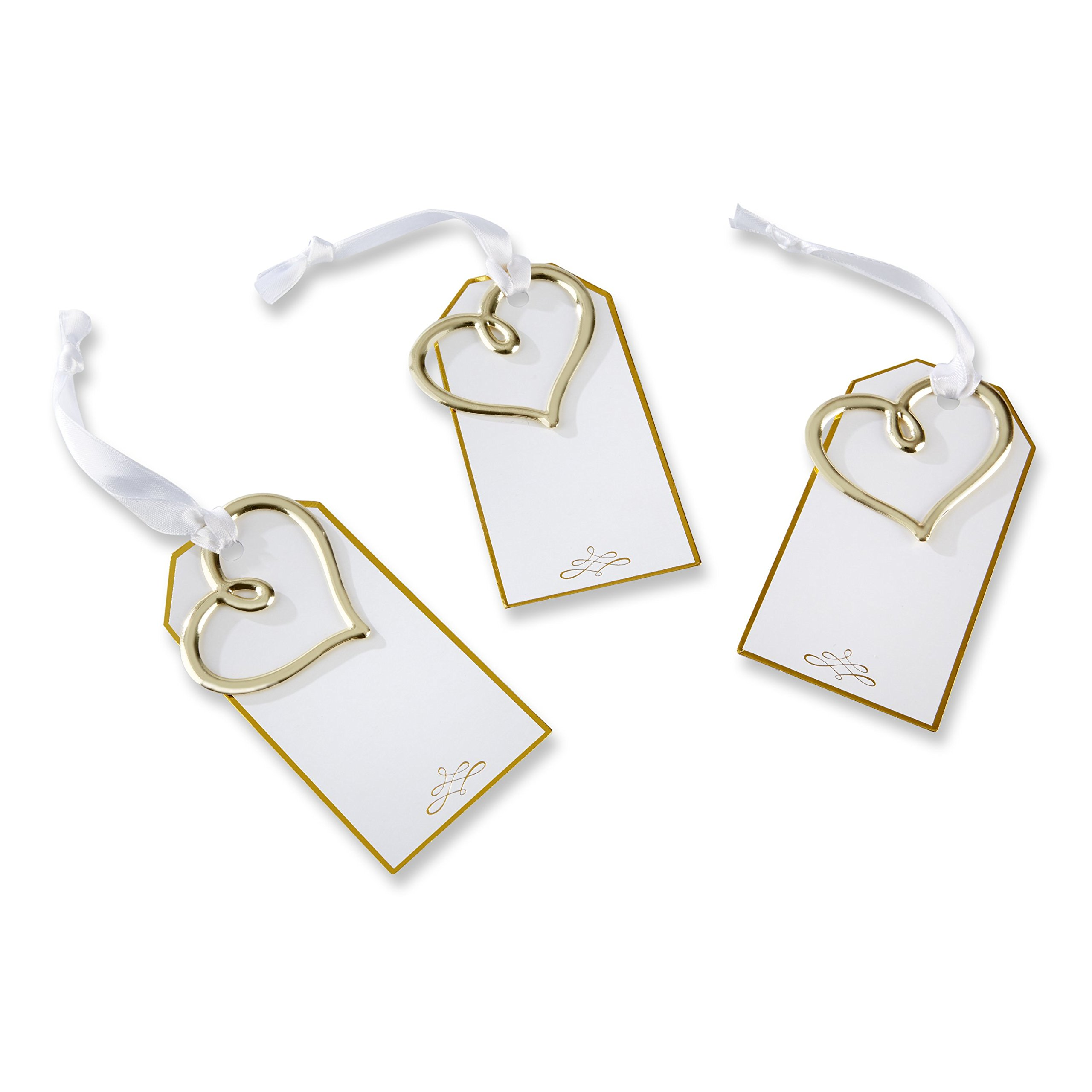 Kate Aspen Gold Heart Escort Card (Set of 12) Gift Tags, Gold and White